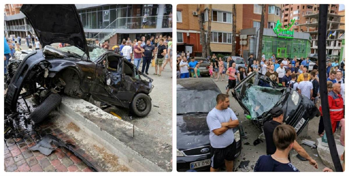 В Ирпене BMW врезалось в остановку, снесло билборд и влетело в парковку фитнес-клуба