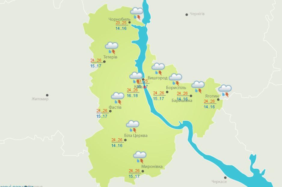 Погода в Киеве и области на 15 июня