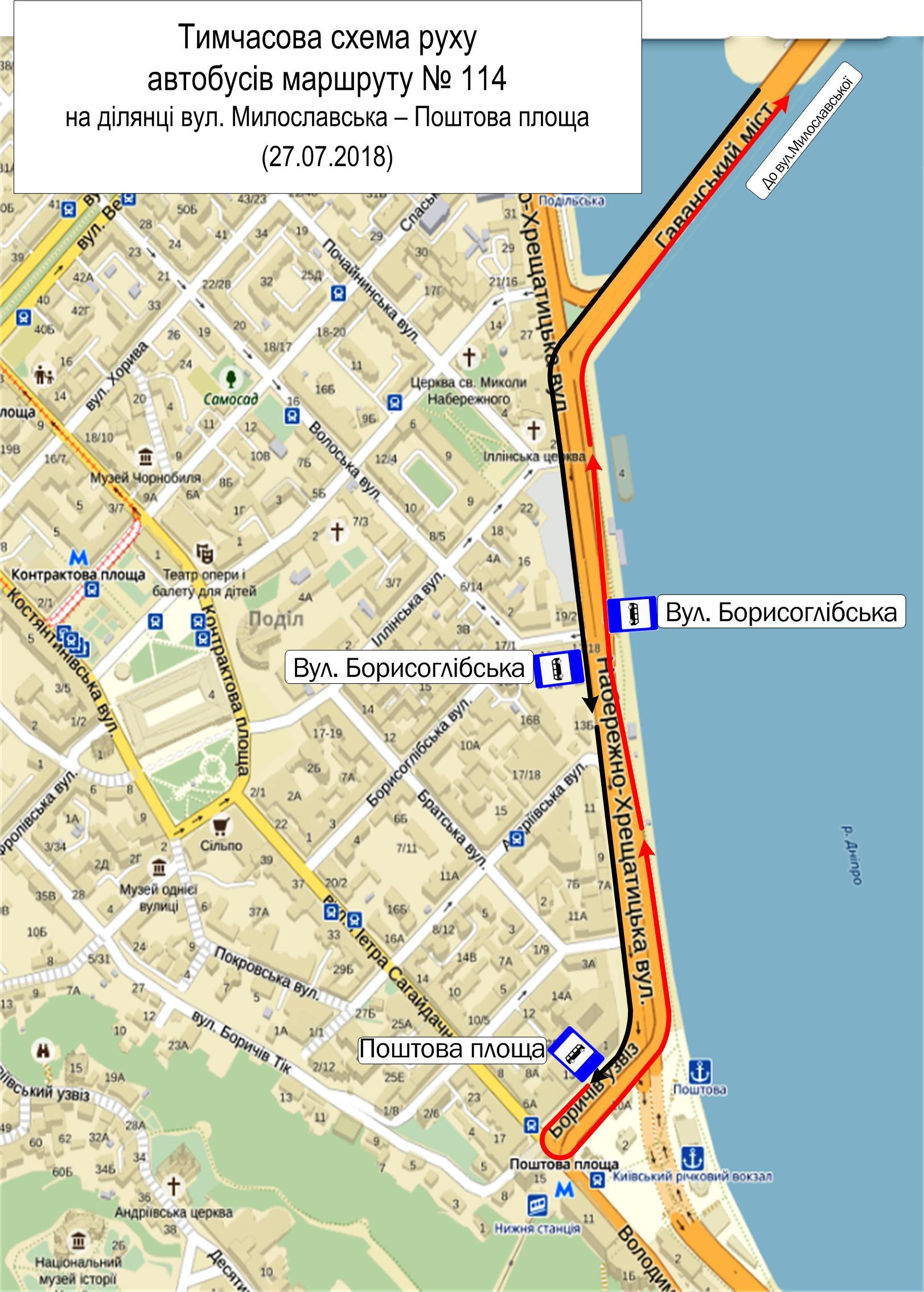 Автобус № 114 будет курсировать от улицы Милославская до Почтовой площади по данной схеме