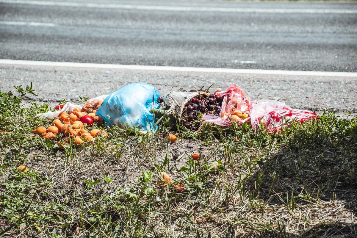 Из салона Škoda разлетелись ягоды и фрукты