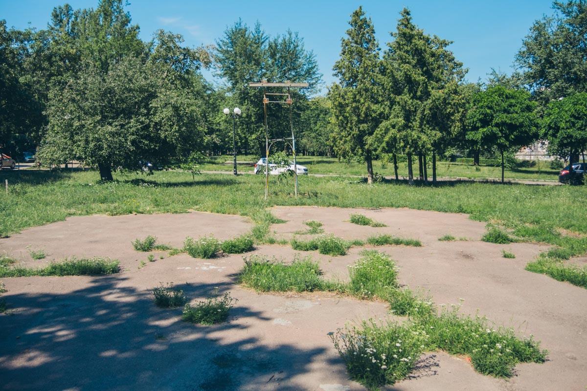 Старая спортивная площадка, где через асфальт проросла трава, а от баскетбольного кольца осталась только аварийная опора