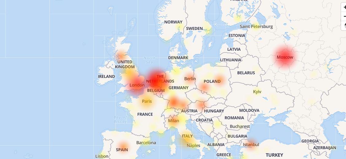Карта городов, откуда приходят сообщения о неполадках с Іnstagram