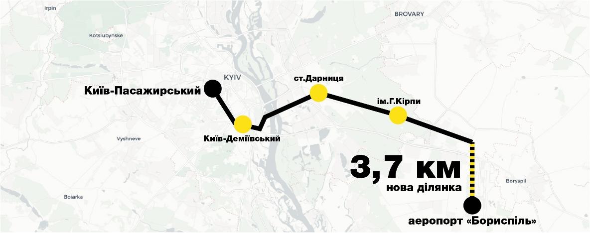 Маршрут следования скоростного поезда