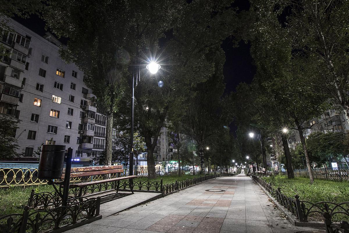 Пустынный ночной бульвар Леси Украинки
