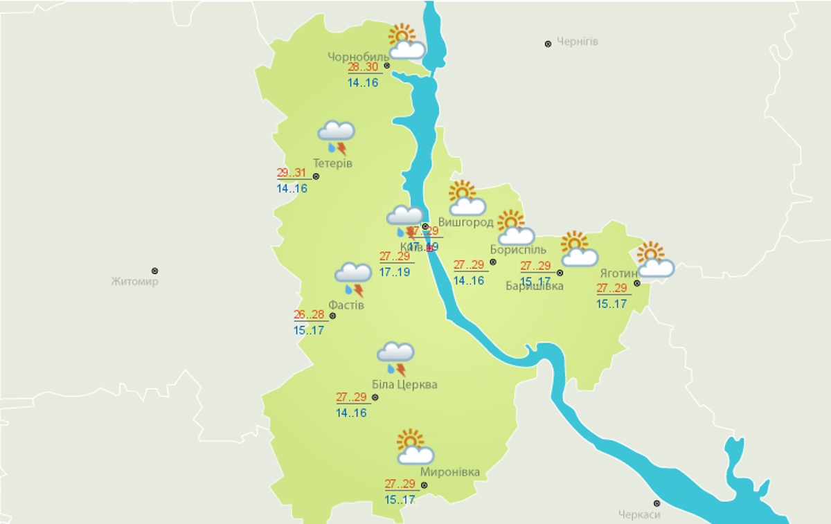 Погода на 12 июля в Киеве