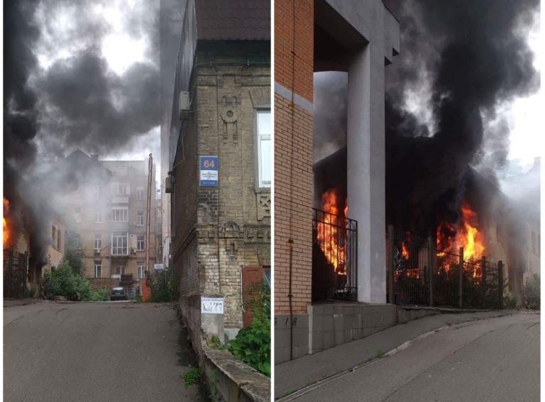 В Киеве на Дмитриевской произошел пожар. Фото: очевидцы