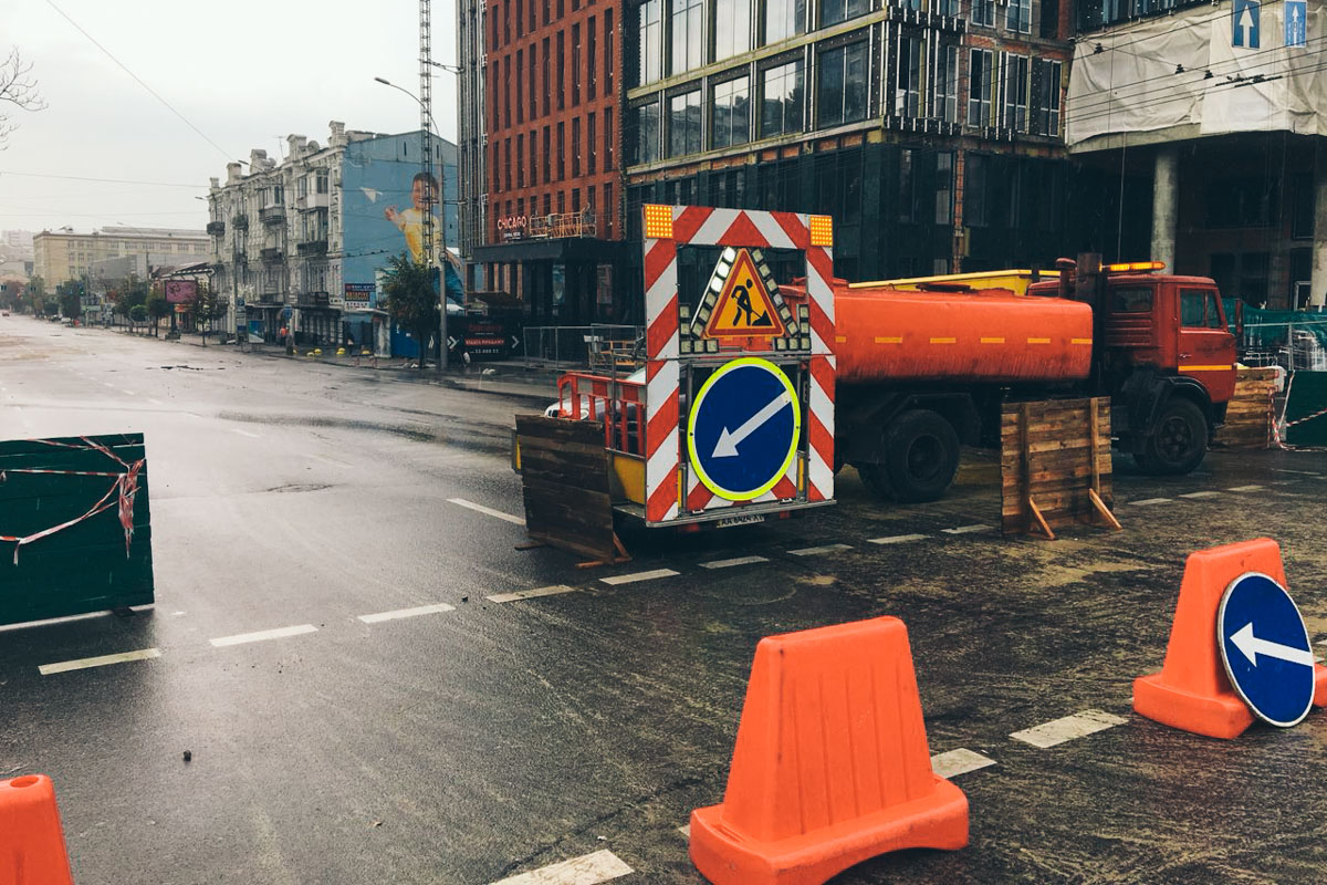 Дорогу по адресу улица Антоновича перекрыли