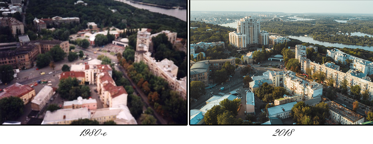 """По фотографиям можно проследить, как со временем исчезала советская символика, строились дороги и """"росли"""" новые здания"""