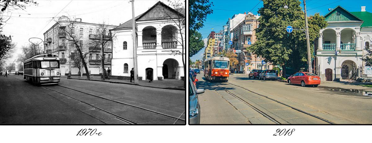 По улице с 1891 года проложена линия трамвая — сначала конного, а с 1894 года — электрического, соединяющего Подол с Куреневкой и Пуще-Водицей