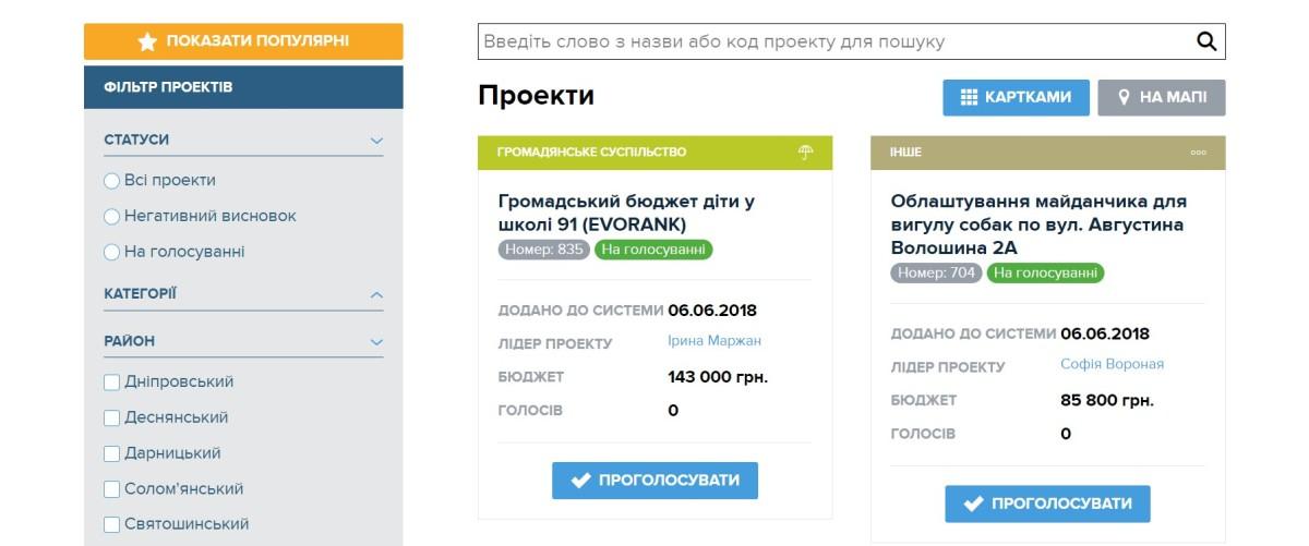 На сайте сейчас представлены для голосования 1001 проект, для легкого просмотра на сайте они разделяются по категориям и районам