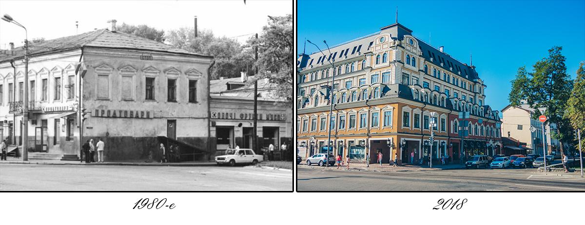 Фасады зданий здесь украшены мелкой лепкой, фронтончиками, башенками и низкими подворотнями