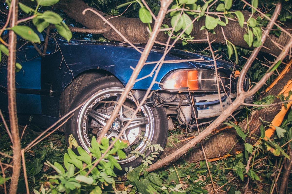 Автомобиль BMW вылетела с дороги и врезалась в дерево