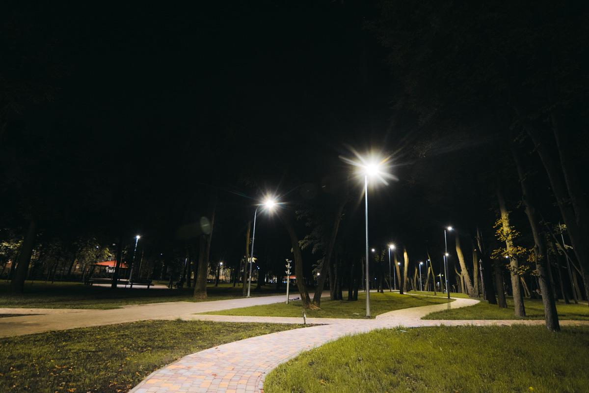 На фото видны фонари по всему парку