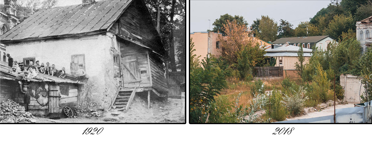 На месте старинных домиков, теперь, к сожалению, пустырь