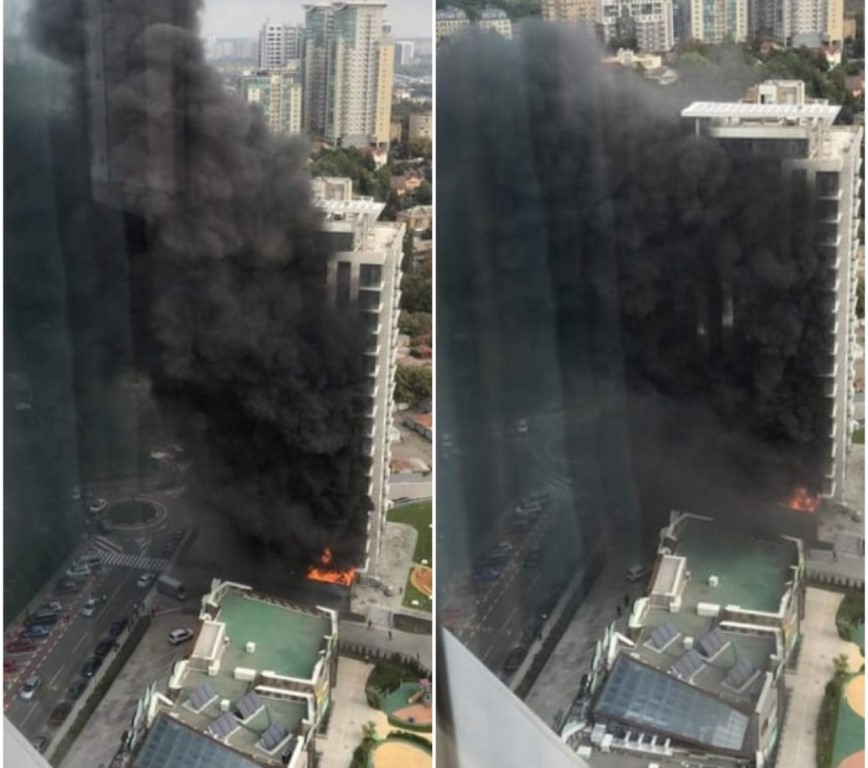 В ЖК Новопечерские Липки по адресу Драгомирова, 11 вспыхнул пожар