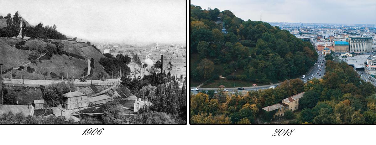 На нечетной стороне спуска стоит старейшее сооружение киевского водопровода - «Палестинский фильтр»