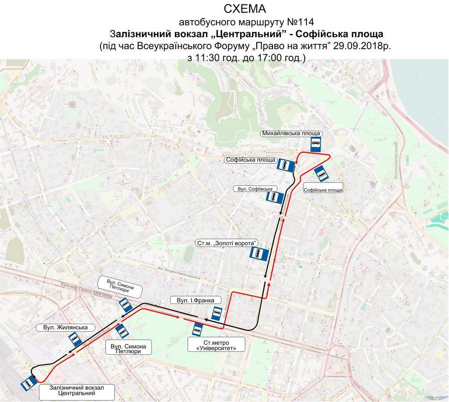 Схема автобусного маршрута №114 от Центрального железнодорожного вокзала до Софийской площади