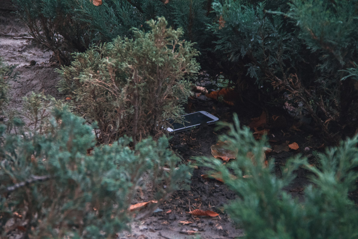 Один нож они выбросили в клумбу, второй - в урну рядом с лавочкой, а украденный телефон - в кусты