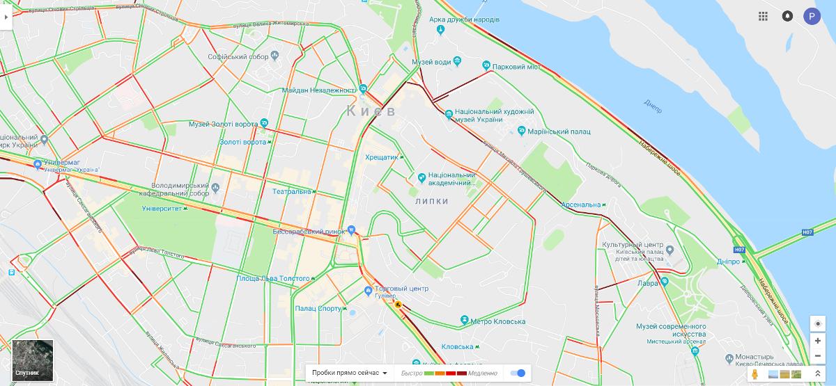 В связи с митингом под Кабинетом Министров Украины в Киеве образовались пробки