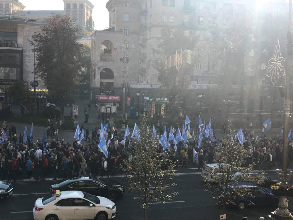 В центре Киева остановилось движение