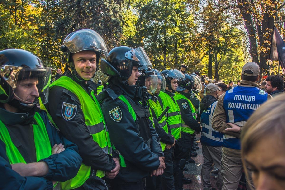 Правоохранители рассредоточены по всему Мариинскому парку
