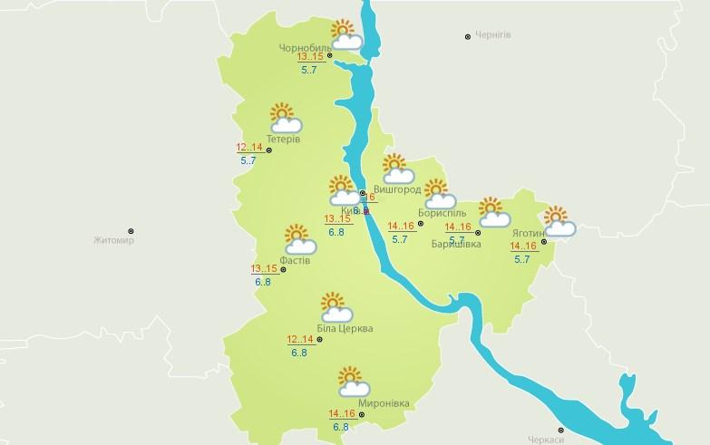В Киеве 9 октября будет облачно