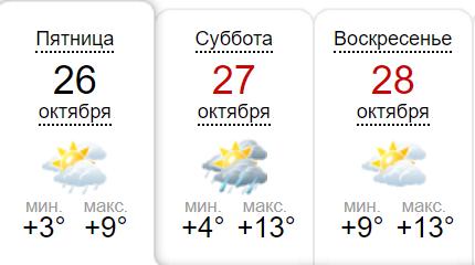Погода в Киеве на выходные по данным sinoptik.ua