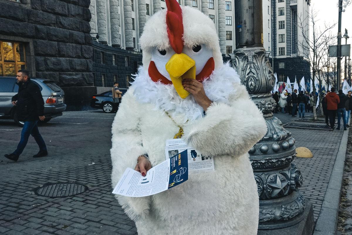 Активист в костюме курицы требует улучшения жизни людей в Украине