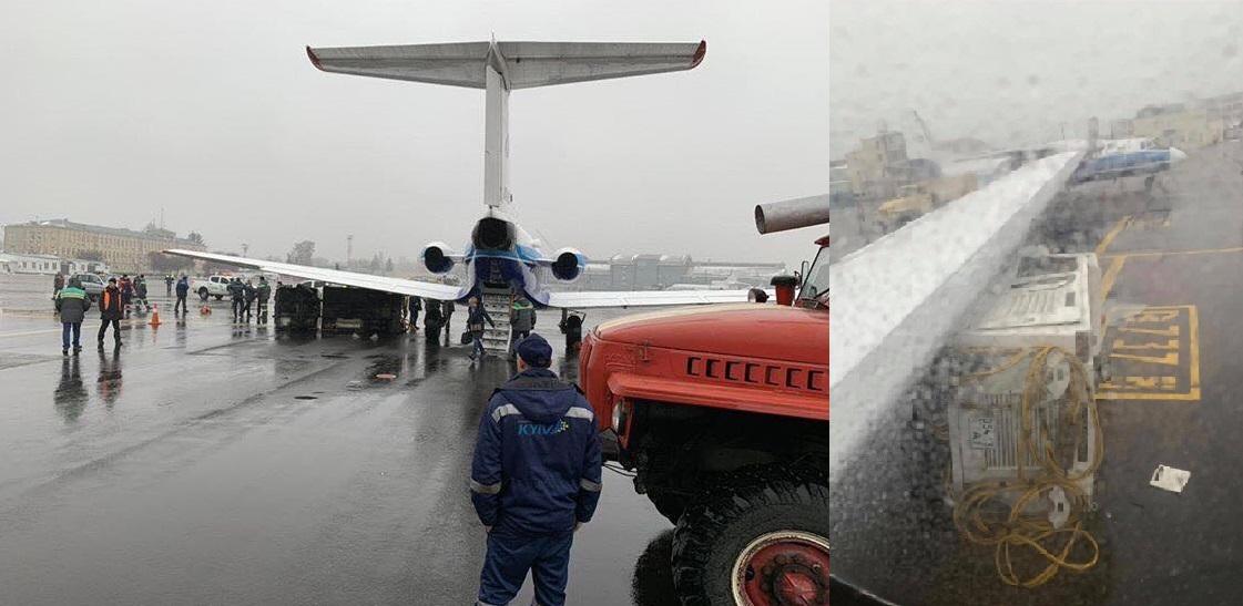 Так выглядит столкновение самолета и транспорта на фото, присланных пассажирами ЯК-40