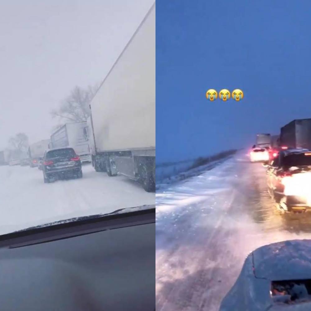 Движение на трассах Киев - Харьков (слева) и под Полтавой (справа) остановилось