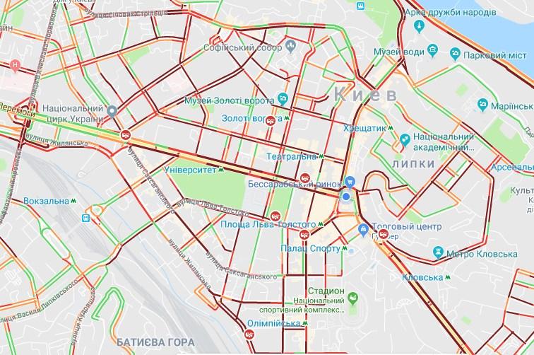 По состоянию на 18:50 наибольшая загрузка наблюдается в центре Киева
