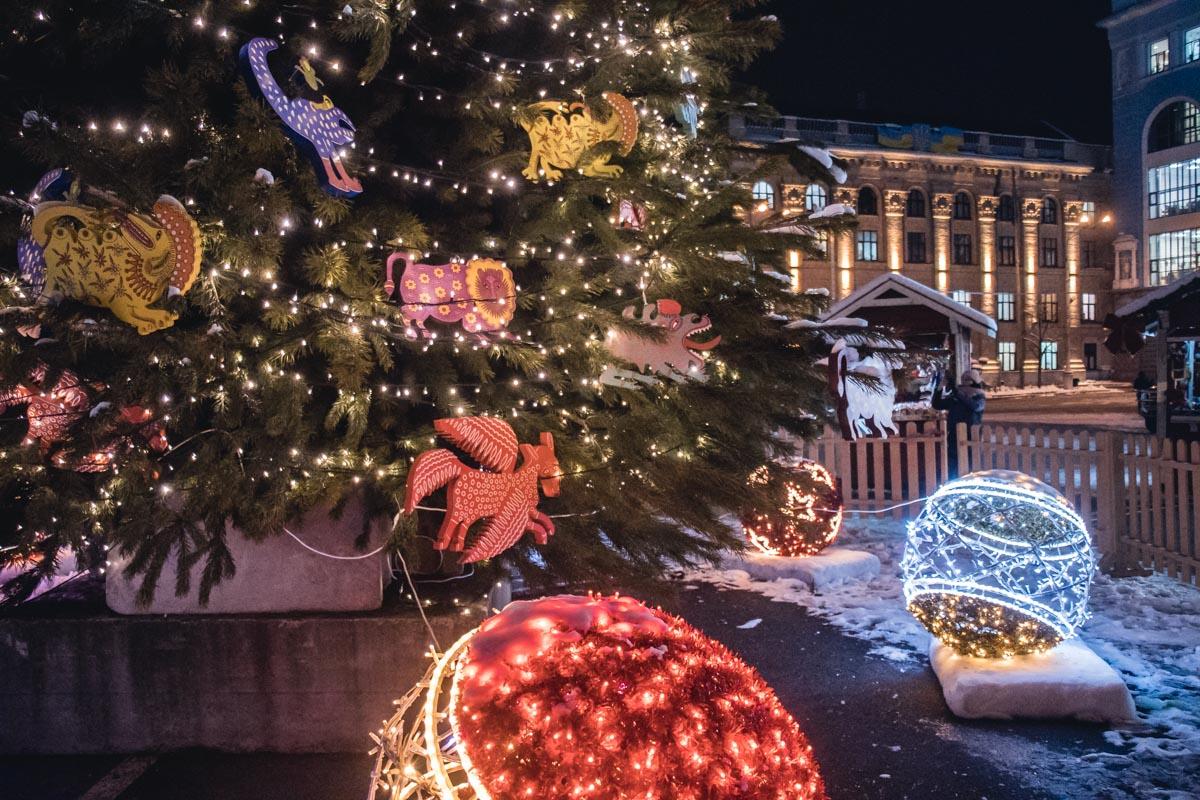 В среду, 19 декабря, в Киеве загорелись яркими огнями две новогодние елки