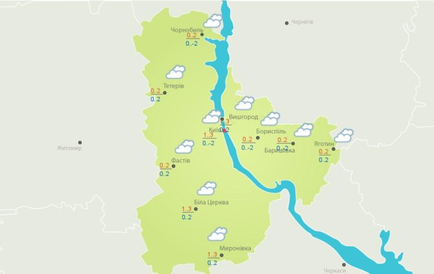 Киев накроют облака и туман