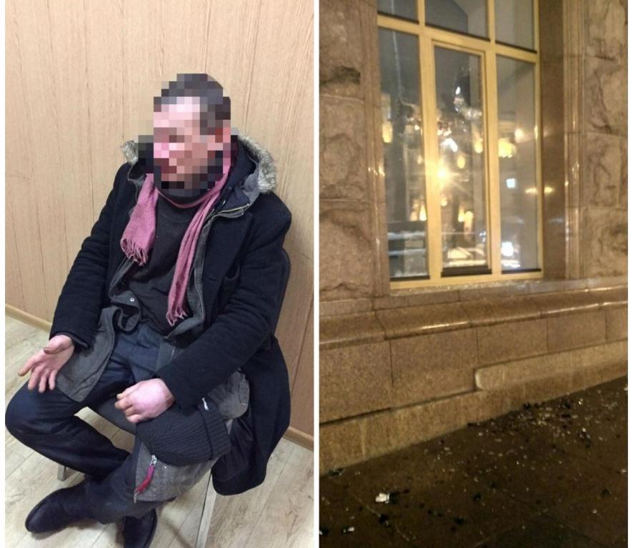 43-летний мужчина разбил бутылками окно в здании КГГА