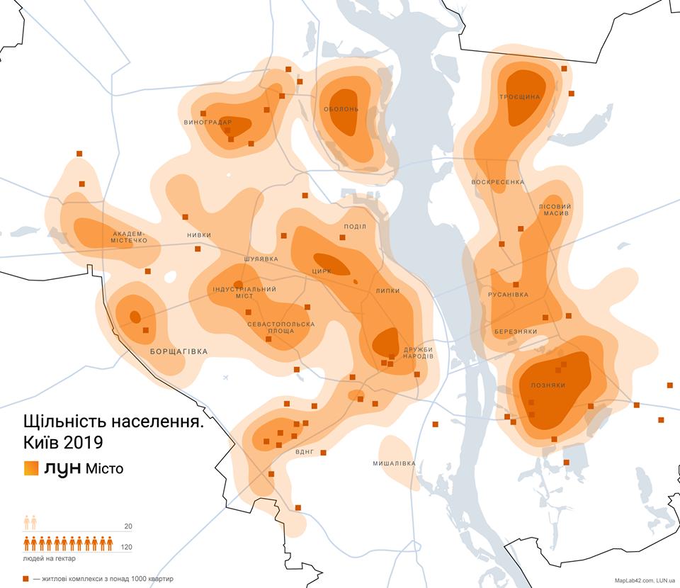 """Плотность населения по районам Киева. Видно, что самым """"любимым"""" среди жителей столицы является район Позняки"""