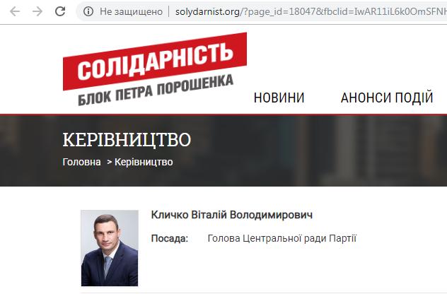 На момент публикации материала Виталий Кличко все еще значится главой Центрального совета партии БПП