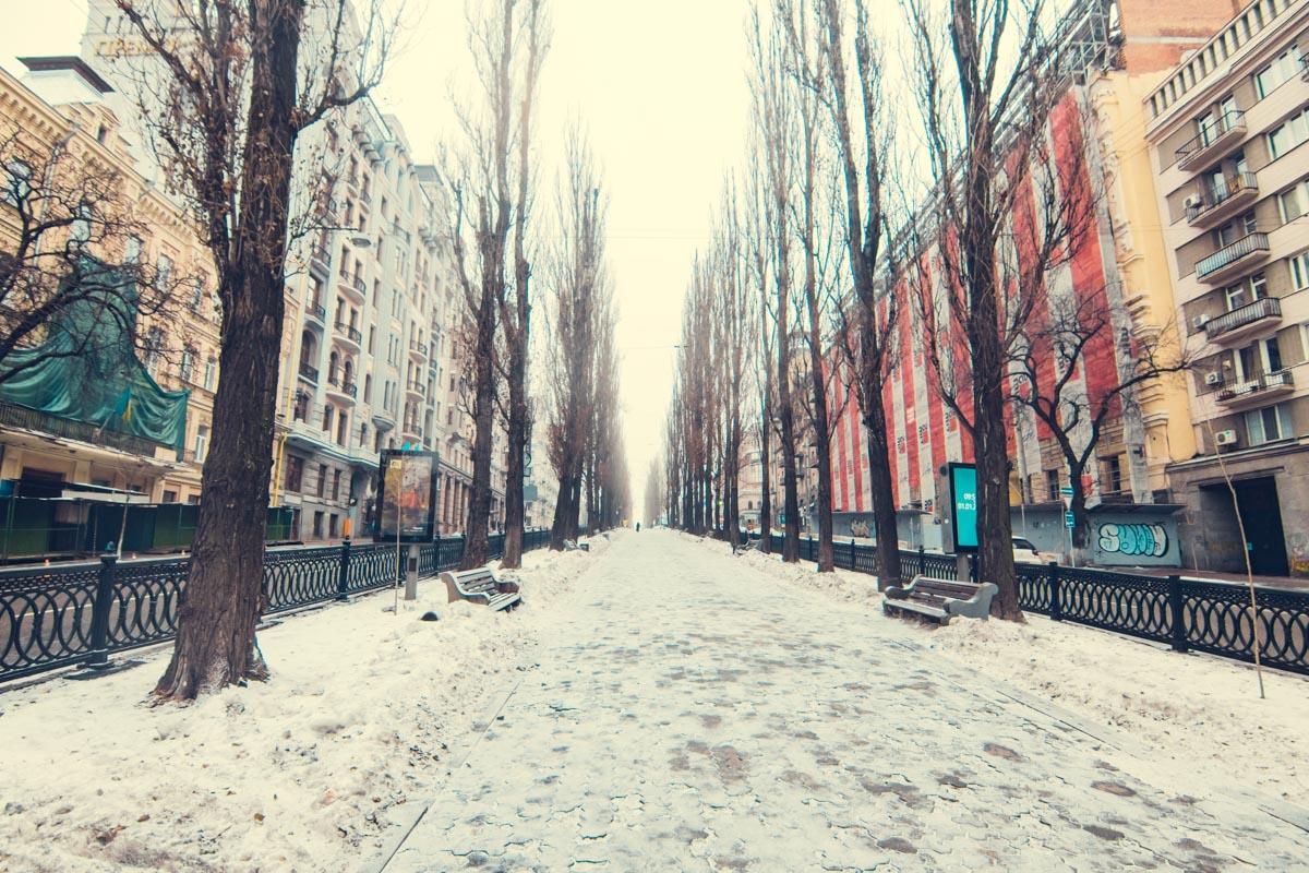 Город покрылся тонкой снежной вуалью
