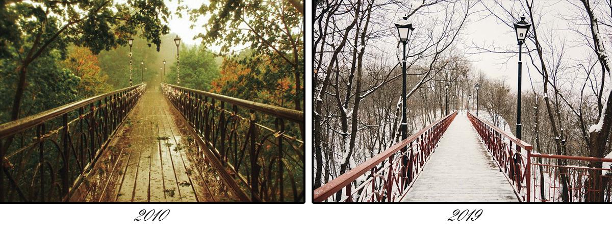 По Парковому мосту приятно гулять в любое время года
