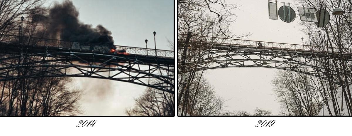 Во время Революции Достоинства митингующие забросали мост горящими шинами, чтобы преградить путь спецслужбам к очагу противостояния