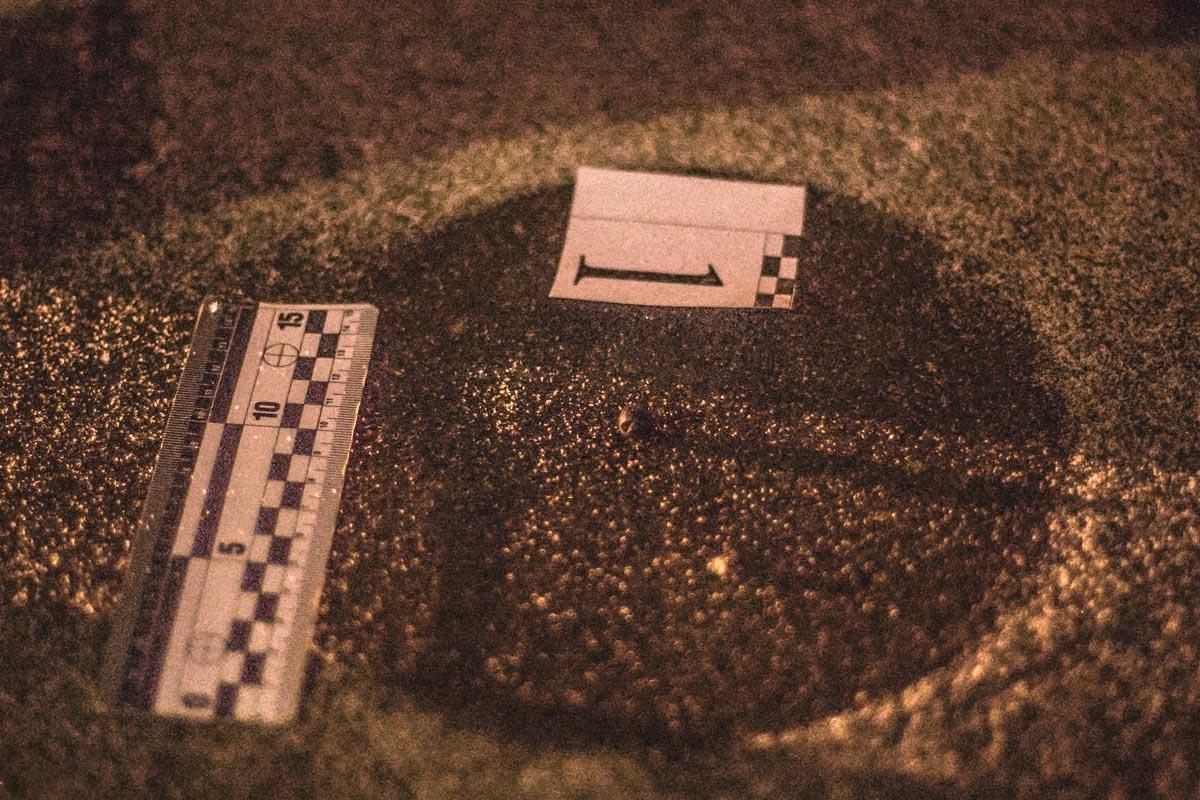 Резиновая пуля, оставшаяся на асфальте