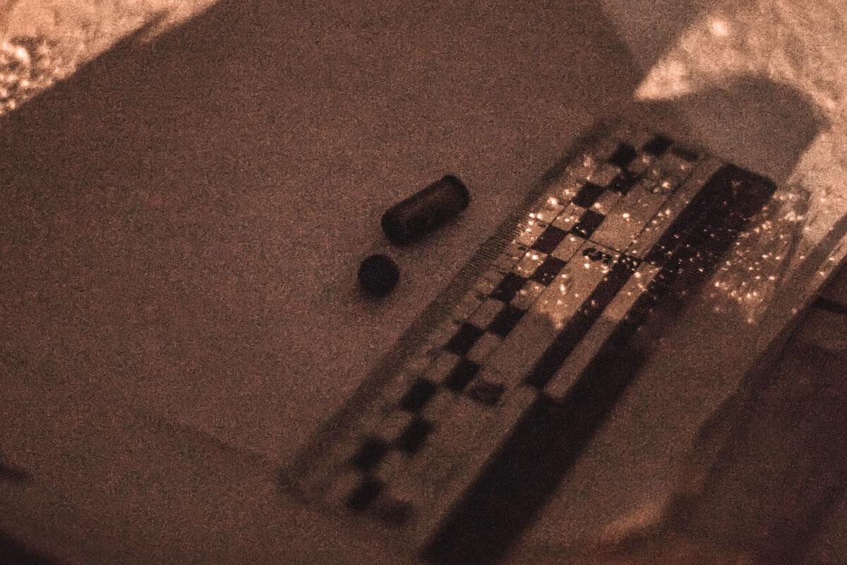 Гильза с резиновой пулей от травматического пистолета