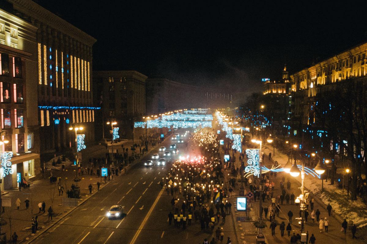 Обе колонны активистов прибыли на Майдан Независимости, где мероприятие продолжилось