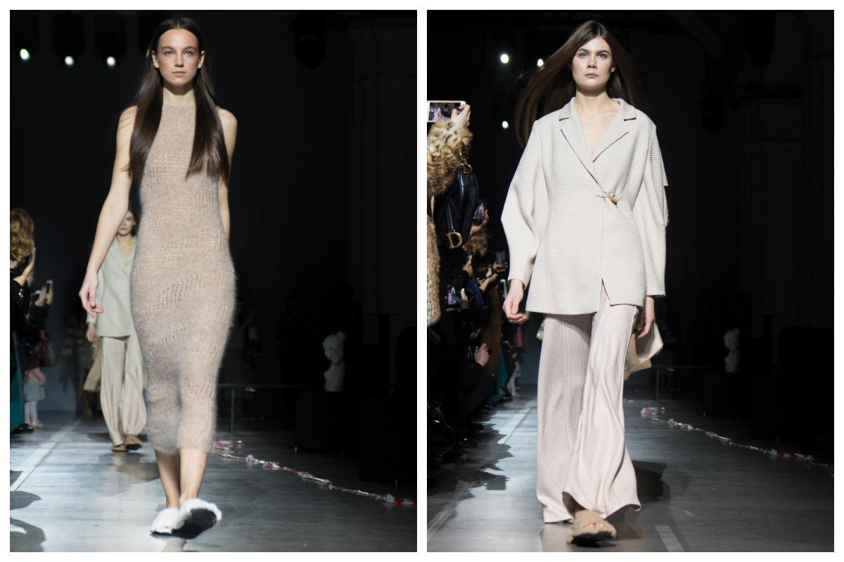 Контраст: легкие обтягивающие платья и костюмы с прямыми, но мягкими линиями