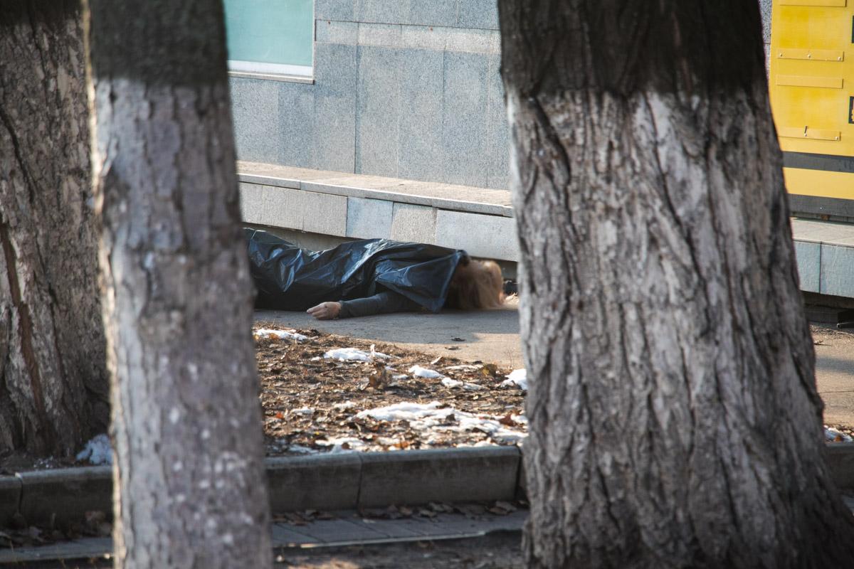 Тело в крови лежало на клумбе рядом с домом №48/2