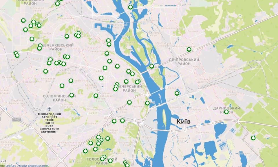 На карте обозначены старейшие деревья в Киеве и области