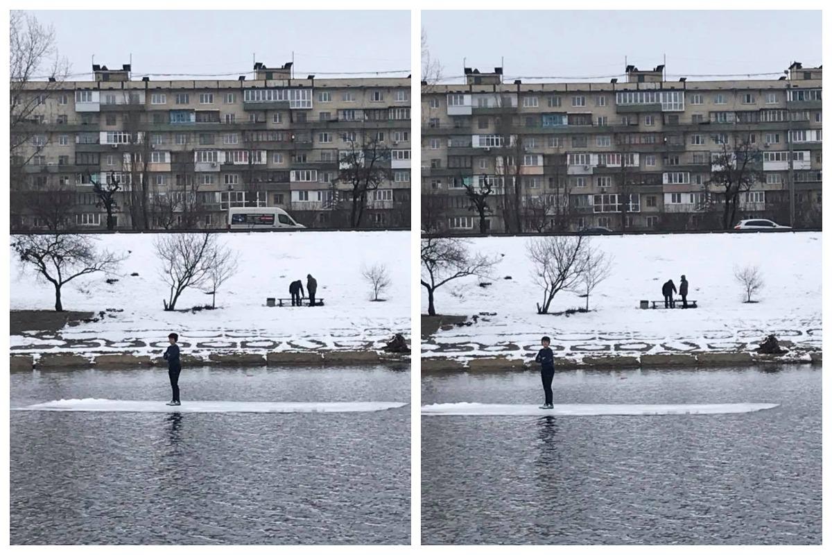 На Русановке местные жители обнаружили мальчика, который плавал на льдине. Фото Лена Турбал