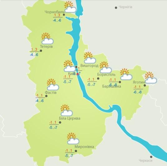 8 февраля в Киеве будет переменная облачность