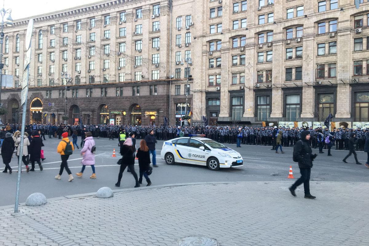 Дружинники организованными колоннами стартовали от Майдана Независимости