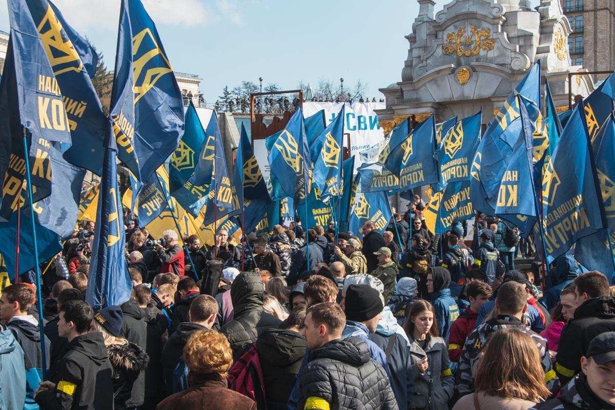 Митинг был организован Национальным корпусом и его «боевым» ответвлением — «Национальными дружинами»