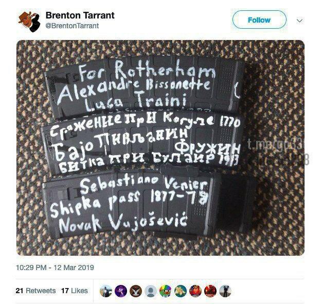 """""""Значимые события европейской истории"""" по версии Тарранта"""